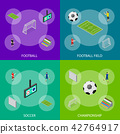 Soccer Stadium Competition Banner Set Isometric View. Vector 42764917