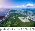 Top aerial view at mountains, town, lake and road 42765378