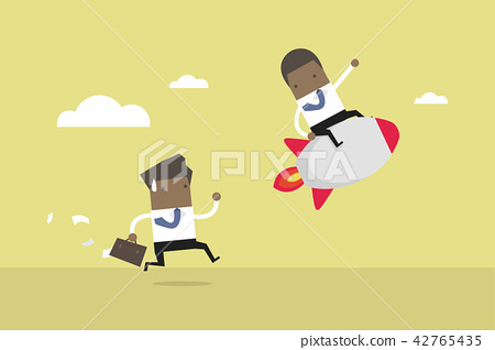 African businessman ride the rocket. 42765435