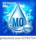 Mo Molybdaenum Vector. Mineral Blue Drop Icon. Vitamin Liquid Droplet Icon. Substance For Beauty 42765754