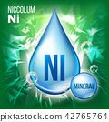 Ni Niccolum Vector. Mineral Blue Drop Icon. Vitamin Liquid Droplet Icon. Substance For Beauty 42765764