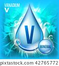 V Vanadium Vector. Mineral Blue Drop Icon. Vitamin Liquid Droplet Icon. Substance For Beauty 42765772