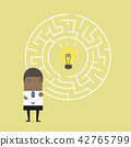 African businessman in front of a huge maze. 42765799