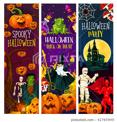 Halloween party banner with trick or treat pumpkin 42765949