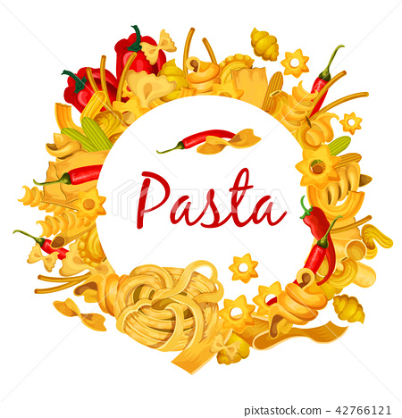 Italian pasta with chili pepper vector poster 42766121