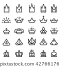Crown Icon Ranking Black and White Set 42766176