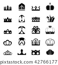 Crown Icon Ranking Black and White Set 42766177