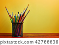 School Stationary in Basket on Wooden Table 42766638
