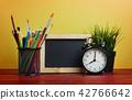 Alarm Clock, Blackboard, Plant and Stationary 42766642