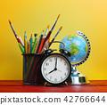 Alarm Clock, World Globe and School Stationary 42766644