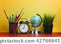 World Globe, Alarm Clock, Plant and Stationary 42766645