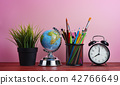 World Globe, Alarm Clock, Plant and Stationary 42766649