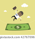 African businessman falling into a money banknote. 42767096