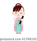 เด็กผู้หญิงที่สวมชุดพิธีสำเร็จการศึกษาฮาคามะของโรงเรียนประถม 42768193