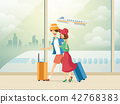 Traveling couple of young people. Man and woman with luggage are go in the airport building. Vector 42768383