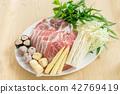 Pork slice set for Shabu and Sukiyaki Japanese. 42769419