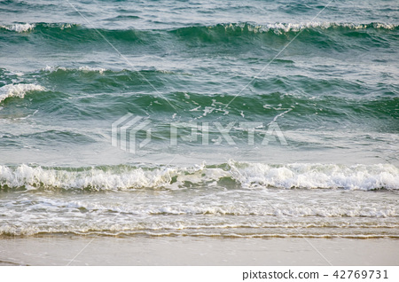 Sea Wave on the Beach in the Morning Light. 42769731