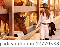 rider woman in helmet with whip near horses 42770538