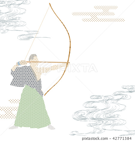 Japanese archer shape vector with Japanese pattern 42771384
