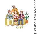 放松在客厅的家庭 42771482