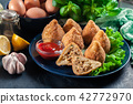 Coxinha. Fried croquette with chicken 42772970