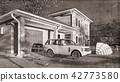 American house in rural settings 3d rendering 42773580