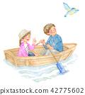 手漕ぎボートに乗る男女 42775602