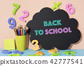 numbers, pencil crayons and text back to school 42777541