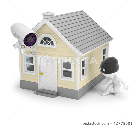 3d small people - thief and house 42778601