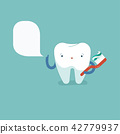 Tooth is brushing with toothbrush, dental concept. 42779937