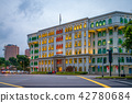 building with colorful windows at clarke quay 42780684