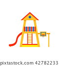 Kids playground in house shape with plastic slide, ladder and basketball hoop. Element for outdoor 42782233
