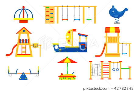 Flat vector set of kids playground elements. Carousels, slides, ladders, wooden sandbox. Play 42782245