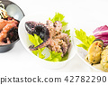 Mini canapes with seafood and vegetables and herbs 42782290