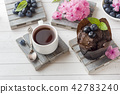 Chocolate cake with mint and blueberries.  42783240