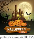 Happy Halloween party message, pumpkin, bat design 42783255
