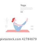 Yoga flat illustration. Vector minimal Character people decoration. Group acting sport lifestyle 42784679