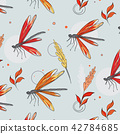 Dragonfly colorful pattern. Botanical spring summer sketch drawing. Butterfly floral decoration 42784685