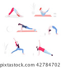 Yoga flat illustration. Vector minimal Character people decoration. Group acting sport lifestyle 42784702