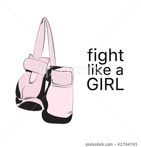 Fight like  girl poster. Feminist sign fashion illustration. Female art quote  typography. Woa 42784705