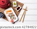 Set of sushi with red teapot and chopsticks. 42784822