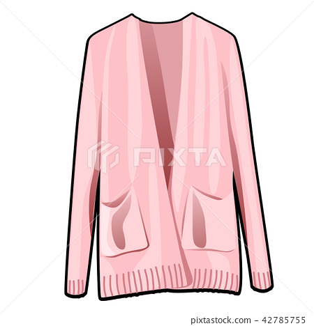 Pink womens jacket with pockets isolated on white background. Vector cartoon close-up illustration. 42785755