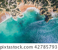 Aerial view of tropical sandy beach and ocean 42785793