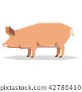 Flat geometric Tamworth pig 42786410