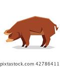 Flat geometric Red Wattle pig 42786411