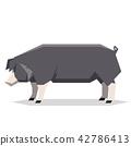 Flat geometric Poland China pig 42786413