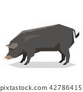 Flat geometric Mulefoot pig 42786415