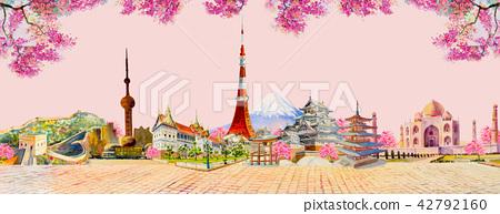 Famous landmarks of the world. 42792160