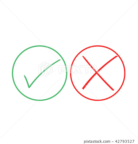 Thin line check mark icons. Green tick and red 42793527