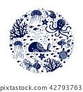 Cartoon sea animals 42793763